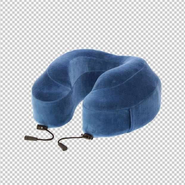 blue neck cushion travel relax beauty product photography example
