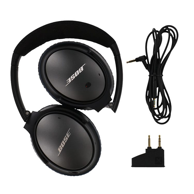 Flat lay photography example of Bose Headphones shot with an Ortery ClothingPad