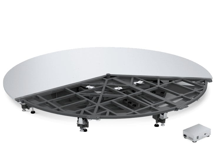 The Ortery Photocapture 360 Stage is a large industrial sized software controlled product photography turntable for capturing interactive 360 product photos and videos of large or heavy items up to 1300 lbs.