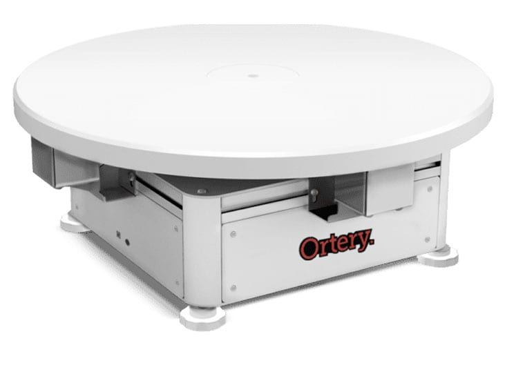 Ortery Photocapture 360S is a medium sized product photography turntable controlled by software for shooting small and large products and mannequins.