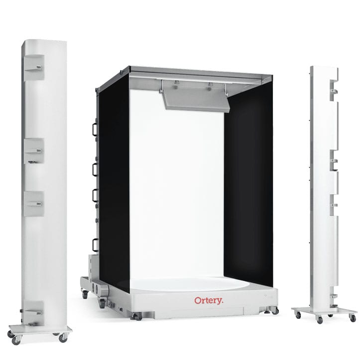 The Ortery Infinity Studio 4000 is a software controlled, product photography system with a bottom-lit turntable for easily creating still and 360 photos of mannequins and live models on a pure white or transparent background.