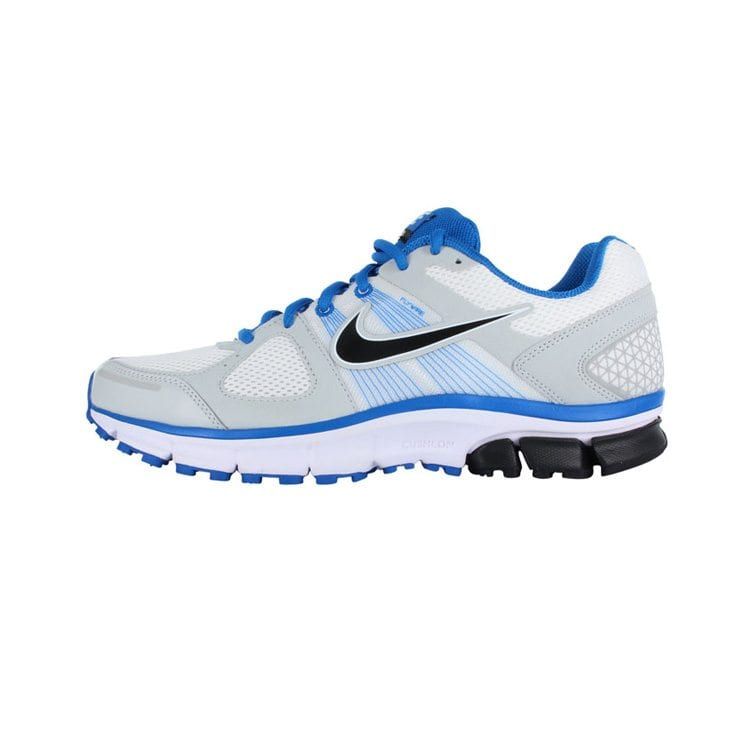 side shot white and blue Nike show pegasus product photography example
