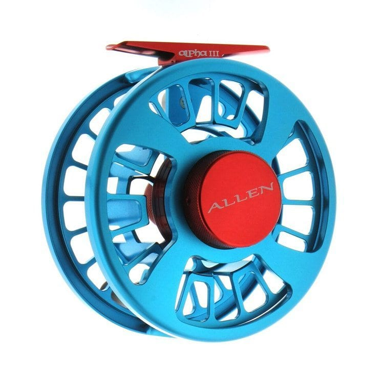 bright blue and red fly fishing reel still product photography example