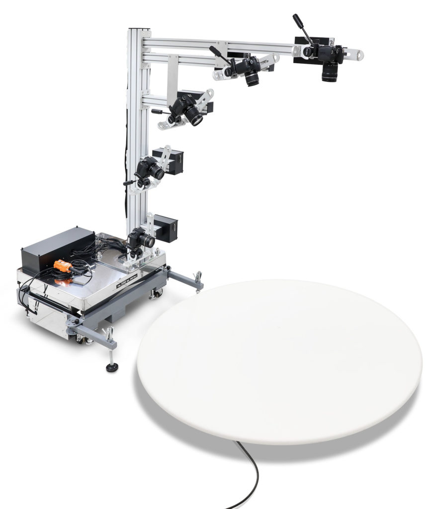 Ortery 3D MultiArm 3000 shown with 360 photography turntable.
