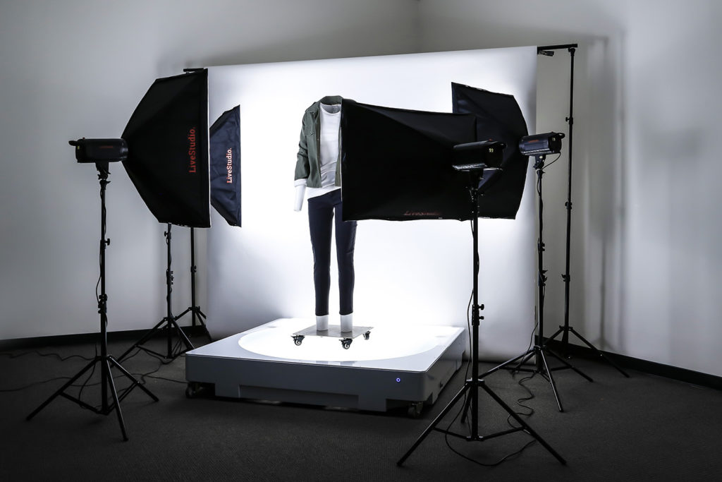 Ortery large software-controlled and bottom-lit 360 product photography turntable paired with LiveStudio works great for both live models and mannequins.