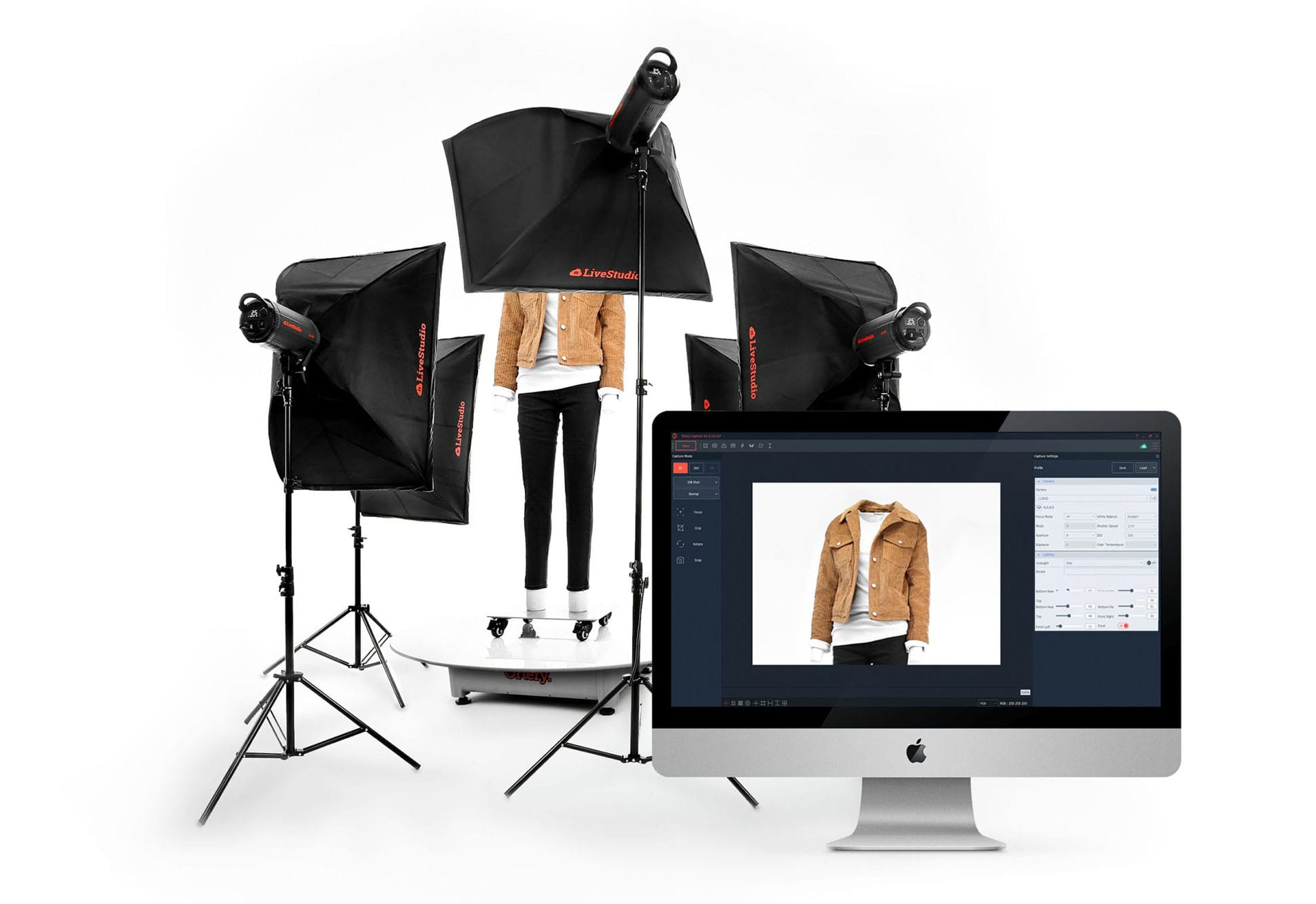Ortery LiveStudio LED Photography Studio Light Kits controlled by software.